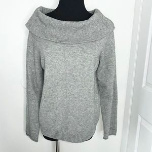 Anthropologie heather gray cowl neck knit sweater